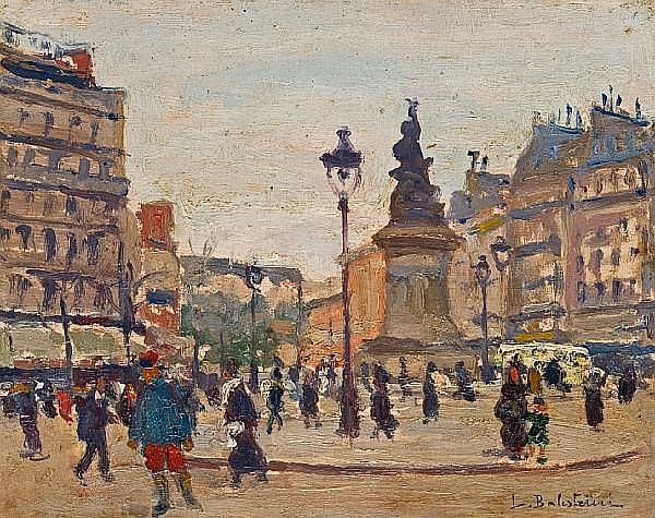 Lionello Balestrieri (Italian, 1874-1958) A street scene in Paris 8 1/2 x 10 1/2in (20.4 x 26.6cm)