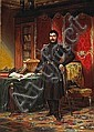 Louis-Charles-Auguste Couder (French, 1790-1873) A military officer in his study with documents and books on a table 30 1/2 x 22 1/4in (77.5 x 56.5cm), Louis-Charles-Auguste Couder, Click for value