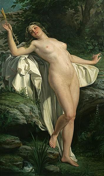 Alexandre Jacques Chantron (French, 1842-1918) Diana at her bath 75 x 44 3/4in (190.5 x 113.6cm)