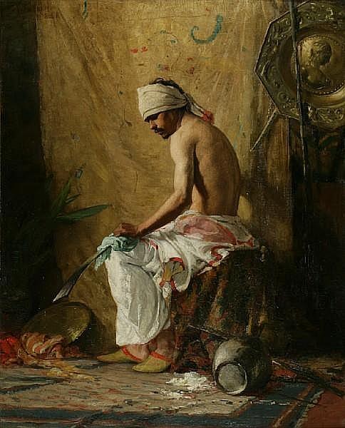 Charles Yardley Turner (American, 1850-1919) The warrior 36 x 29in (91.4 x 73.6cm)