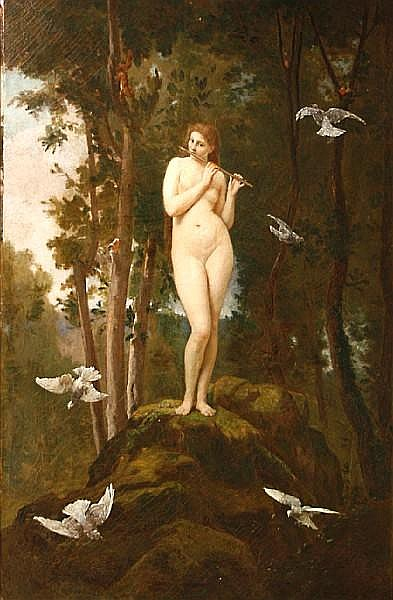Jules Joseph Meynier (French, 1826-died circa 1903) A nymph of the woods 40 1/4 x 28 1/2in