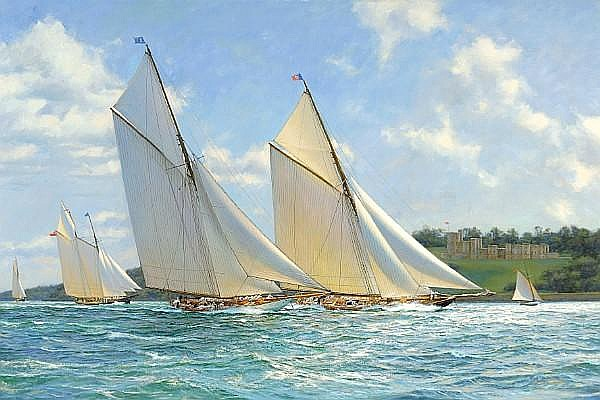 Anthony D. Blake (born New Zealand 1951) Britannia and Vigilant 27 x 40 in. (68.6 x 101.6 cm.)