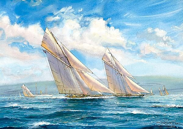 Roy Cross (British, born 1924) America's Cup, 1901, Columbia vs Shamrock II 12 x 17 1/2 in. (30.5 x 44.4 cm.)