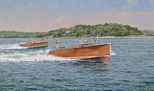 Richard K. Loud (American, born 1945) Chris Craft Runabouts 12 x 20 in. (30.5 x 50.8 cm.)