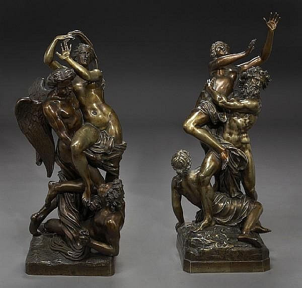Two French patinated bronze figural groups