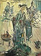 Pascal Cucaro (American, 1915-2004) Geisha; Red house; Two figures (a group of three) each 12 x 9in, Pascal Cucaro, Click for value