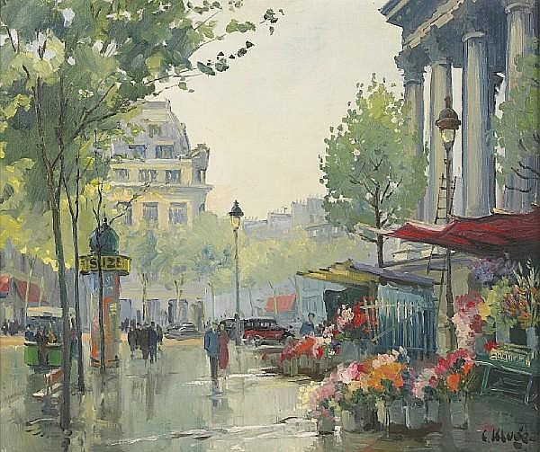 Constantin Kluge (French, 1912-2003) Parisian street scene 21 1/4 x 25in (54 x 63.5cm)