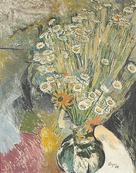 Amador Lugo (Mexican, 1921-2002) Still life with flowers, 1958 29 x 23in (73.7 x 58.5cm)