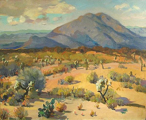 Augustus William Dunbier (American, 1888-1977) Arizona desert 24 x 28in