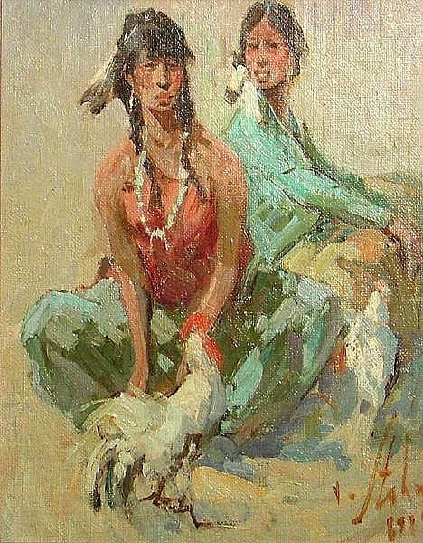 Vladan Stiha (American, 1908-1992) Young Indians with rooster, 1979; Little Indian girl, 1977 (a pair) first 10 x 8in; second 9 3/4 x 7 1/2in