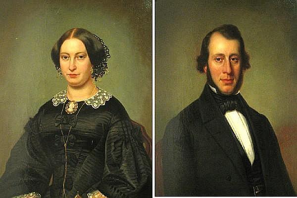 Barend Leonardus Hendriks (Dutch, 1830-1899) A portrait of a gentleman; also a companion portrait of his wife (a pair) each 29 1/2 x 23 1/2in