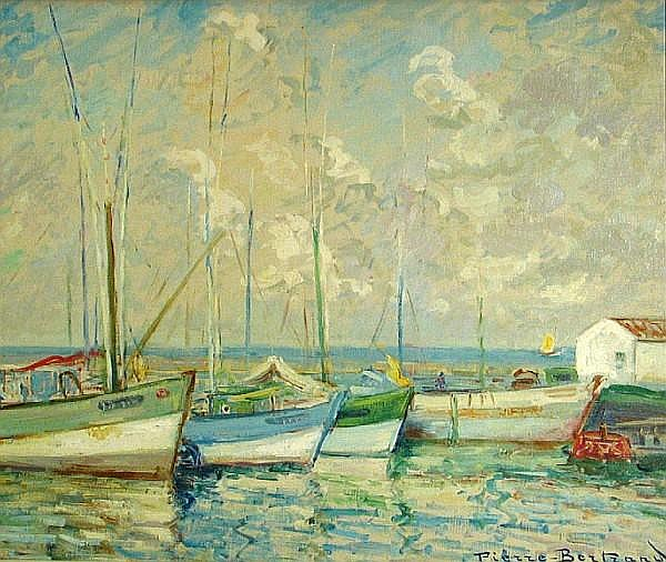 Pierre Philippe Bertrand (French, 1884-1975) Ships in a harbor 21 1/4 x 25 1/2in