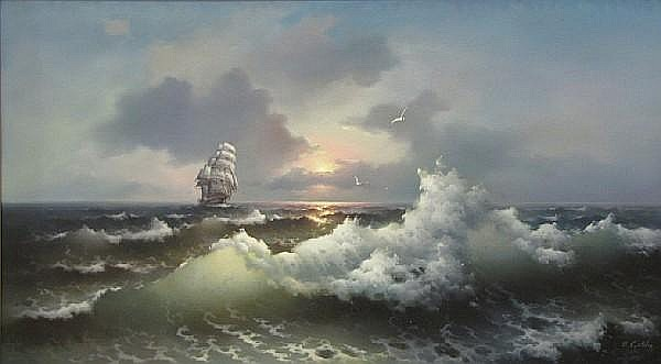 Eugène R. Garin (American, born 1922) June sailing 33 1/2 x 60in