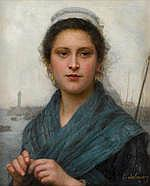 Eugene-Marie Salanson (French, 1864-1892) A portrait of a fisherwoman 22