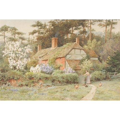 Thomas Nicholson Tyndale Cottage Garden Scenes (2) Watercolor