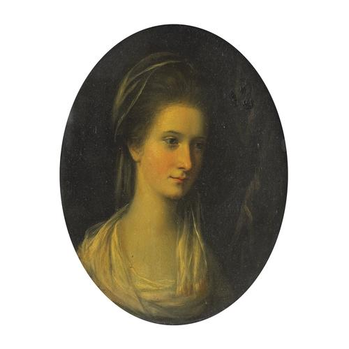 Studio of Sir Francis Cotes Portrait of a Lady Oil on Copper
