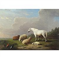 Franz von Severdonck Horse Sheep Landscape Oil