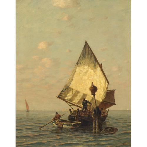 Ludwig Dill Fishing Boats Venice Oil