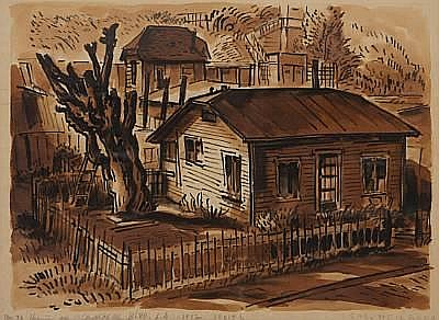 Carl Heilborn (American, born 1906) No 70 Houses on Griffith Park Blvd, L.A, 1942 sight 14 1/4 x 11in