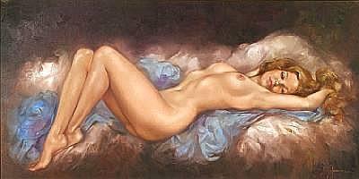 Leo Jansen (American, 1930-1980) Reclining Nude 18 x 36in