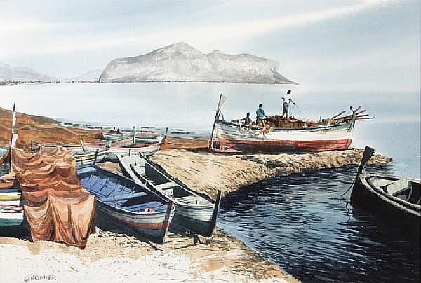 Gerald F. Brommer (American, born 1927) Sicilian Fishing Boats 15 x 22in