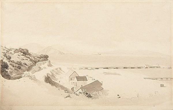 John Mix Stanley (American, 1814-1872), Robert Taylor Pritchett (1828-1907) San Francisco Bay (from the Presidio), 1848; Las Cardas, 1875 (2) paperboard 8 1/4 x 11 7/8in; 5 x 6 3/4in unframed