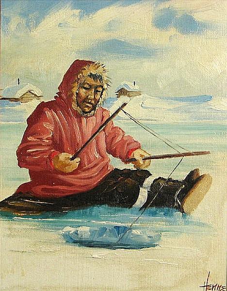Ellen Henne Goodale (American, 1915-1991) Eskimos ice fishing (a pair) each 10 x 8in