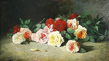 Lothar von Seebach (German, 1853-1930) Cut roses 18 1/4 x 32in