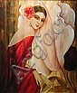 Philippe Augé (French, born 1935) Lady in red 24 x 20in, Philippe Auge, Click for value