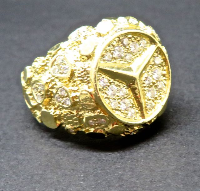 Mens Gold and Diamond Mercedes ring