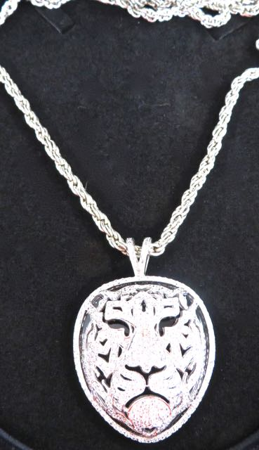 Silver & CZ Diamond Lions Face Pendant and Heavy Silver Necklace