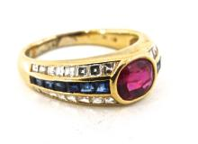 Diamond Ruby & Sapphire Ring set in 18ct Yellow gold