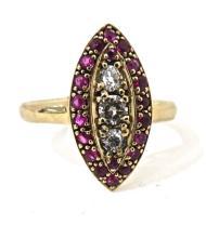 Ruby & Diamond Dress Ring in 9ct Yellow Gold