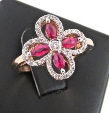 Ruby & Diamond  9ct Rose Gold Dress Ring