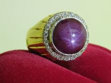 Star Ruby Cabochon & Diamond Men's ring in 18ct gold.