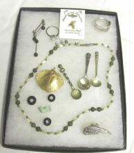 Tray Of Costume Jewelry Some Sterling