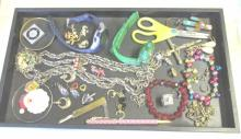 Tray Of Costume Jewelry & More