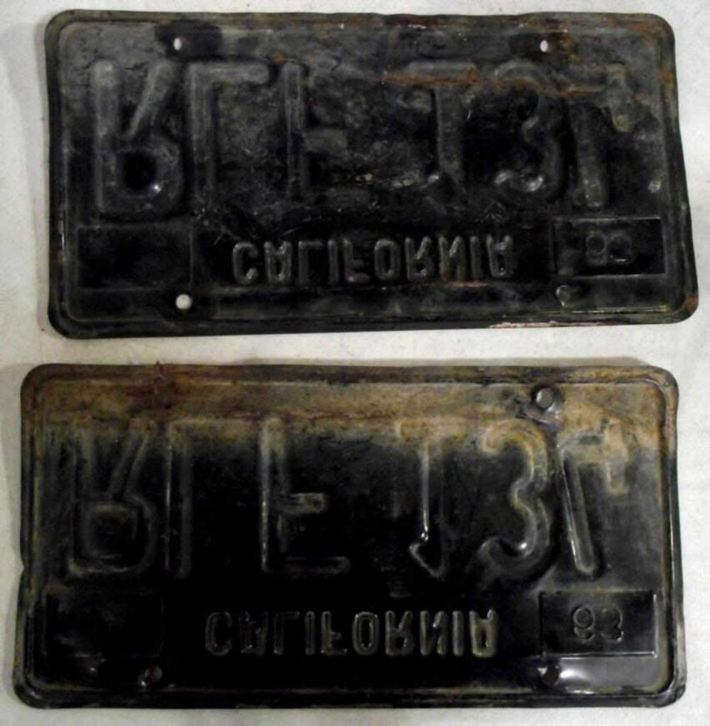2-Black California License Plates