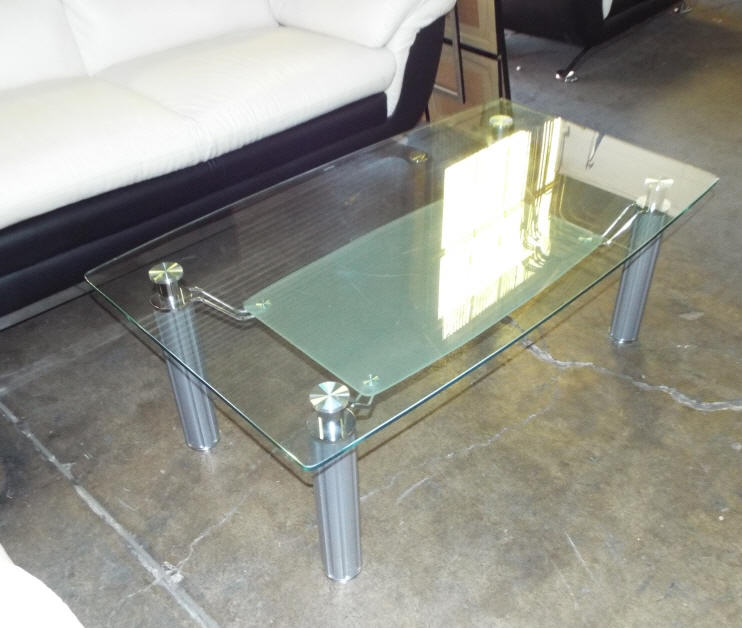 Glass Coffee Table With A Frosted Glass Tier