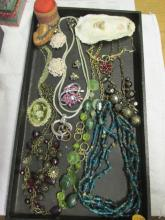 Tray Of Costume Jewelry Some Signed