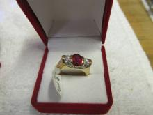 Ladies Ruby Cz Gold Tone Costume Ring