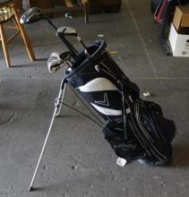 Black Callaway Golf Bag With Misc Golf Clubs