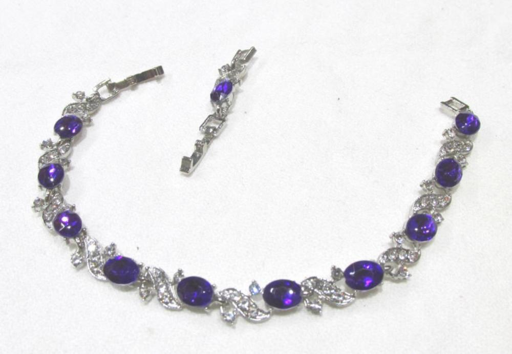 Silver Amyethist Bracelet With CZ's (Unmarked )