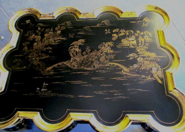 Black Lacquered Chinoiserie Hand Painted Table