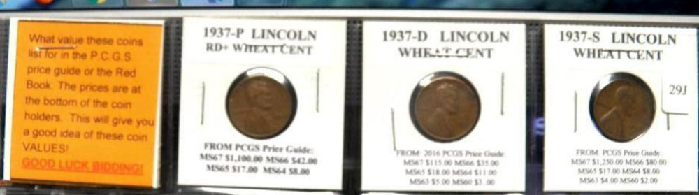 3-1937 Lincoln Wheat Cents