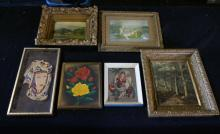 Box Lot Of Vintage Framed Prints And Paintings