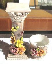 Capodimonte Pillar and Vase with Roses