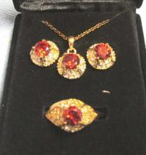 Costume Necklace Earrings & Ring Red Stone