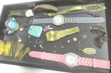 Tray Of Costume Jewelry & Watches