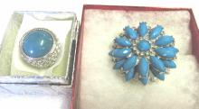Silver Tone Ring & Brooch With CZ's& Blue Stones